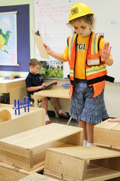 What do students learn when building with large blocks? self control, teamwork…