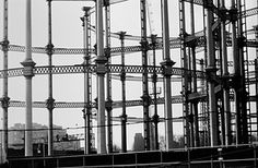 <strong>King's Cross, 1974 </strong>These gasometers were built in the 1850s as part of the Pancras Gasworks