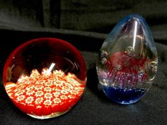 2 LOVELY VINTAGE GLASS PAPERWEIGHTS