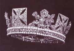 The King George IV State Diadem, was made in 1820 for his coronation. This huge and heavy diadem includes 1333 diamonds and 169 pearls. The diadem was worn at the coronation of both Queen Victoria in 1838 and Queen Elizabeth II in 1953. Traditionally, Her Majesty wears the diadem every year for the State Opening of the Parliament.