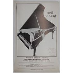 Neil Young concert poster for a concert held March 15, 1974 in Portland, Oregon at the Memorial Coliseum.