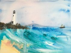 Lighthouse Mixed Media Original Painting - one off - Seascape Fantasy Paintings, Paintings For Sale, Original Paintings, Watercolor Sunset, Watercolor And Ink, Mount Laurel, Yellow Eyes, Stonehenge, Frame Shop