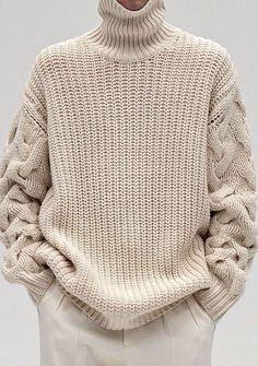 MADE TO ORDER turtleneck Sweater aran men hand knitted sweater cardigan pullover crewneck men clothing handmade men's knitting - Stricken Cardigan 2019 Knitting Pullover, Handgestrickte Pullover, Hand Knitting, Vogue Knitting, Knitwear Fashion, Knit Fashion, Fall Fashion, Catwalk Fashion, Fashion Mode
