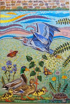 Great Blue Heron mosaic art detail