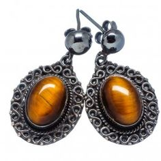 925 SOLID STERLING FINE SILVER Tiger Eye EARRING