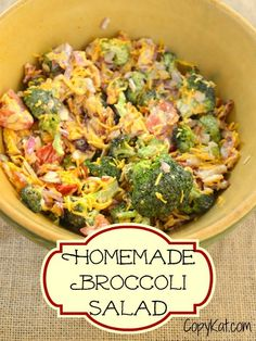 Homemade Broccoli Salad - has fresh broccoli, Cheddar cheese, tomatoes, and bacon. Recipe from CopyKat.com