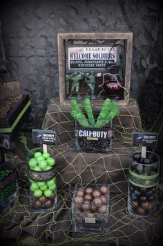 Call of Duty military birthday party candy! See more party planning ideas at CatchMyParty.com!