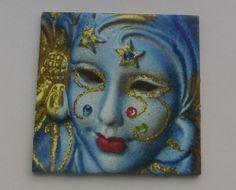 "Bild Geschenk Muttertag Mitbringsel ""Venezianische Maske""  Serviettentechnik"