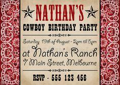 Cowboy Bandana Birthday Party Invitation
