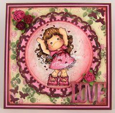 Love, Love, Love Tilda Handmade OOAK Valentine's Day Greeting Art Card by ajsdesigns, $10.50 USD #tilda #valentines #stampingscrapping