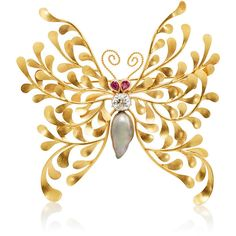McTeigue & McClelland Women's Flora Butterfly Brooch (183.975 NOK) ❤ liked on Polyvore featuring jewelry, brooches, no color, 18k jewelry, victorian brooch, pin brooch, polish jewelry and grey jewelry