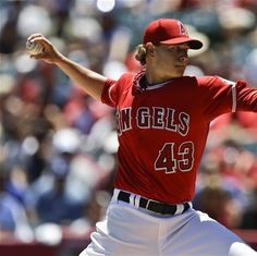 Game #73 6/24/12: Los Angeles Angels starting pitcher Garrett Richards throws to the Los Angeles Dodgers during the first inning of an interleague baseball game in Anaheim, Calif., Sunday, June 24, 2012. (AP Photo/Chris Carlson)