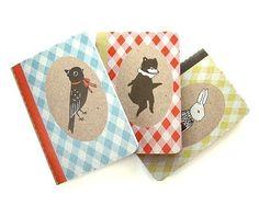 Bear Bunny Bird Pocket Notebook Three Pack from by theblackapple, $12.00