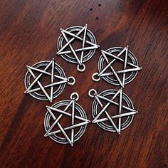 12 Large Pentagram Charms, Antique Silver Charms, Star Charms, Pentagram, Antique Silver Pentagram Pendants, Crafts and Jewelry Supplies by Dorysfindings on Etsy