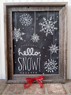 Hello Snow Snowflake Chalk Art Instant Download by MainStreetChalk