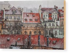 Red Roofs Wood Print by Jenny Rainbow. All wood prints are professionally printed, packaged, and shipped within 3 - 4 business days and delivered ready-to-hang on your wall. Choose from multiple sizes and mounting options. Roof Sealant, Red Roof, Shabby Chic Style, Got Print, New Wave, Prague, Fine Art America, Louvre, Photographic Prints
