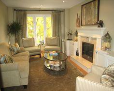 Narrow Family Room and Hardwood Floor Design