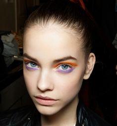 barbara palvin - orange & purple eye makeup