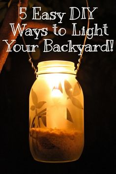 5 Ways to Illuminate Your #Backyard: Frosted Mason Jar Lantern #CPER #DIY #lanterns