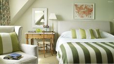 love this…oak furniture is antique but the room has a modern vibe because of the graphic stipe elements…colors are soft…walls a whisper of green