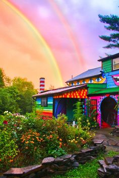 """double rainbow over casa de Katwise.""""Magic exists. Who can doubt it, when there are rainbows and wildflowers, the music of the wind and the silence of the stars? Anyone who has loved has been touched by magic. It is such a simple and such an extraordinary part of the lives we live.""""  — Nora Roberts"""