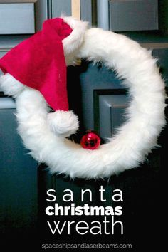 Take a wreath form and create a Santa Christmas Wreath!