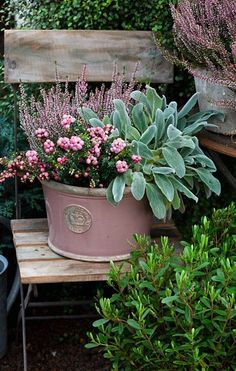 Lovely garden container filled with pretty flowers, like the idea of putting it on a chair.