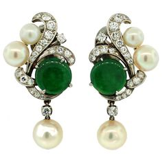 Art Deco Jade, Diamond, Pearl & Platinum Earrings, circa 1930's