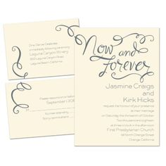 Now and Forever 3 for 1 Wedding Invitation - Ecru | Cheap Invites at Invitations By Dawn