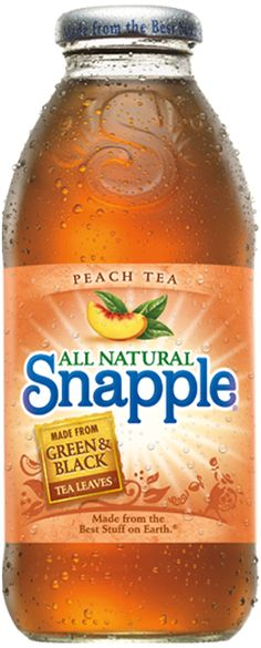 Peach Tea - To Peach their own. Smooth Snapple tea, perfect peach flavor. We made it just for you from the Best Stuff on Earth.