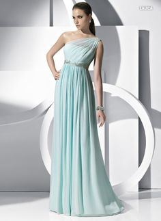 Love this one shouldered Pronovias gown in the ice blue x