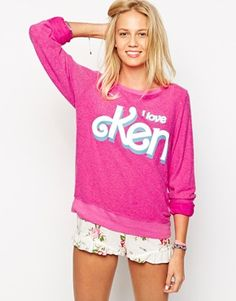 Wildfox Baggy Beach Sweatshirt With I Love Ken Print & Cotton Candy Scent - Very Moschino esque!