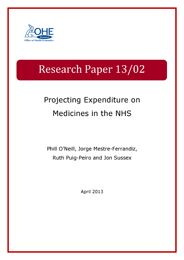 Projecting Expenditure on Medicines in the NHS