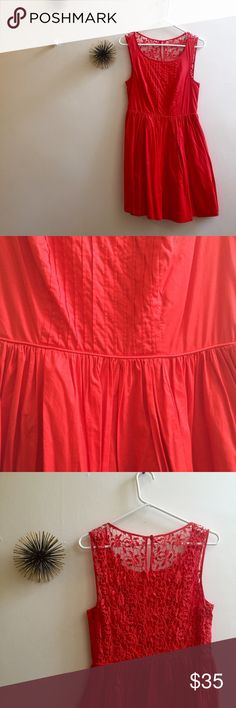 Red Lace Detail Anthropologie Sun Dress Be as bright as a poppy in this beautiful, fully lined fit & flare sundress from Anthropologie. It has romantic details like a eautiful lace back, pin ticked front and a bra strap snap so you can wear a full bra and hold your straps in place! Keep in mind, due to the fabrication it has limited stretch but is true to size. Anthropologie Dresses Mini
