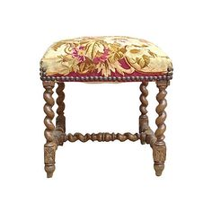 Pre-Owned Jacobean Aubusson Tapestry Footstool ($1,295) ❤ liked on Polyvore featuring home, furniture, ottomans, barley twist furniture, tapestry footstool, jacobean style furniture, secondhand furniture and brown furniture