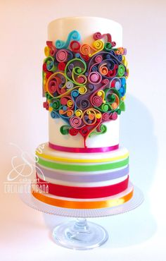 Love cake with quilling technique. #fondant #sugarpaste #ceciliacampana…
