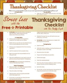 Download this Free Printable Thanksgiving Checklist from The Thrifty Couple!