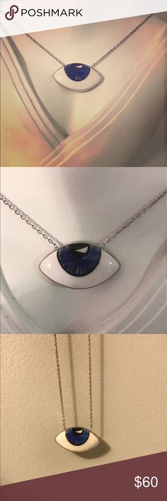 .925 silver Evil Eye necklace painted Murano glass .925 sterling silver, 18k gold plated, evil eye necklace, hand painted Murano glass Casa Di Bling Jewelry Necklaces