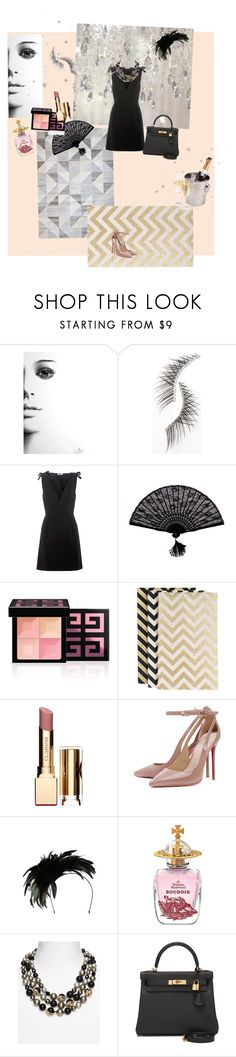 """softer side of noir/ new years party?"" by mb33 ❤ liked on Polyvore featuring Beauty Is Life, Miu Miu, Retrò, Givenchy, Clarins, Gregory Ladner, Vivienne Westwood, Alexis Bittar and Hermès"