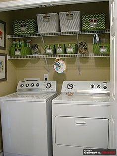 Double shelf laundry room organization