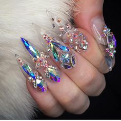 Swarovski Crystal Nail Art Clear Stiletto Nails Yay or nay? Too much bling or just perfect? Swarovski Nails, Crystal Nails, Rhinestone Nails, Bling Nails, Stiletto Nails, Diy Nails, Glitter Nails, Coffin Nails, Acrylic Nails