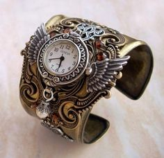 Brass Steampunk Watch Cuff SteamPunk Jewelry mens watch women's bracelet watch Cuff watch brass Unique ladies Watch Accessories Steampunk Watch Manschette Unisex Brass Wings Armband [. Moda Steampunk, Design Steampunk, Steampunk Kunst, Style Steampunk, Steampunk Watch, Steampunk Fashion, Gothic Fashion, Steampunk Clock, Emo Fashion