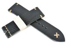 24mm heavy leather black watch strap with cream stitching handmade
