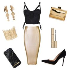 """gold&black"" by aniadratwicka on Polyvore featuring Dolce&Gabbana, Gianvito Rossi, Eloquii, MANGO and Stila"