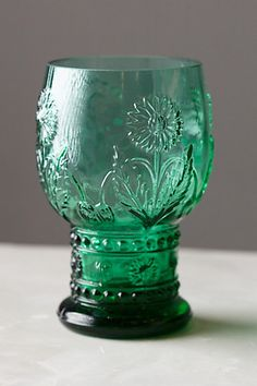 Helianthus Goblet #anthropologie - I love this glass. I bought it in pink and use it at work to drink water. Gives my office a pop of color and so much better than cheap plastic cups.