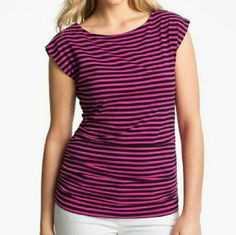 Michael Kors pink&blk striped tee zipper sleeves Michael Kors pink and black striped t-shirt with silver zippered sleeves. Synched on both sides. lightly used. Michael Kors Tops Tees - Short Sleeve