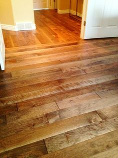"Hand scraped Hickory plank floor, Can Be Custom Colored, 5"" Wide Planks - rustic - wood flooring - Wood Floor Warehouse SLC"