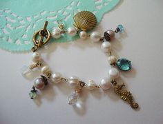 Mermaid's Treasure  Pearl and bronze locket by DeadGirlDreams, $35.00
