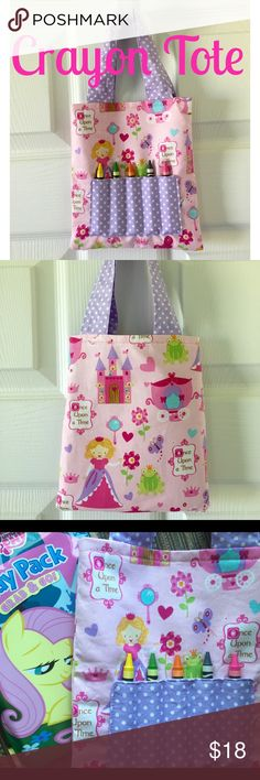 """Mini Crayon Tote! NWT! Princess!  Adorable mini crayon tote! Princess theme. NWT! Size is approx 7"""" x 8"""". Includes mini coloring book and crayons. Smoke free home! This would make a great soon to be big sister gift! Also great for public quiet time such as libraries, doctor's offices etc. Tote can also fit small snacks such as juice box, fruit snacks, fruit pouch etc! Accessories Bags"""