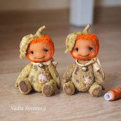 Pumpkin soft teddy toy from vintage plush